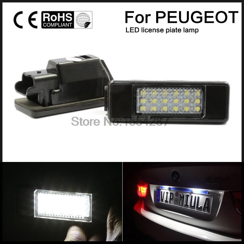 LED SMD License Plate Light For Peugeot 106 207 307 308 406 407 508 White