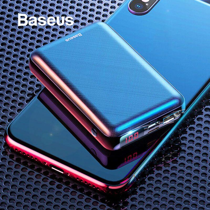 Baseus mini batterie externe 10000 mAh LCD affichage PD type-c charge rapide batterie externe Portable chargeur minuscule batterie externe