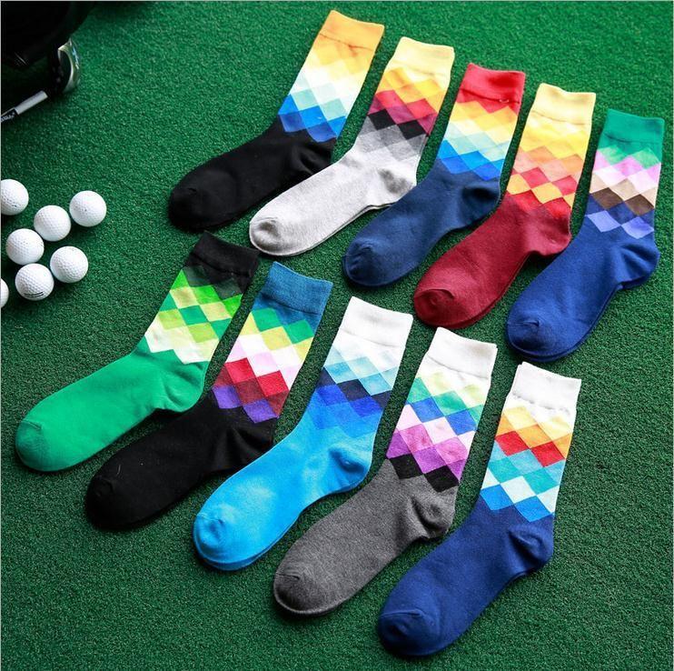 10 Paires/lot multicolore hommes chaussettes couleur diamant chaussettes homme chaussettes coton de haute qualité chaude en gros Losange chaussettes hommes
