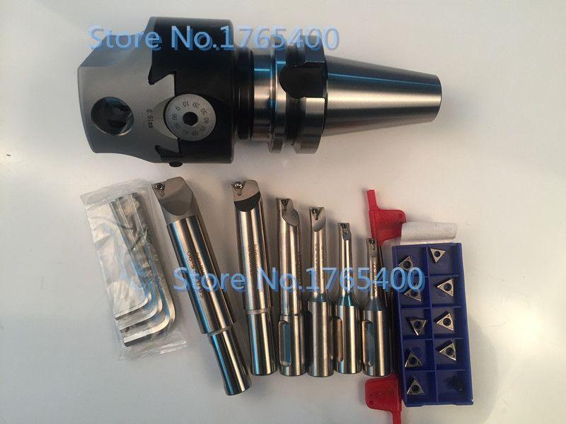 New BT30 M12 arbor F1 -18 75mm boring head and shank 18mm 6pcs boring bar and 10pcs carbide inserts