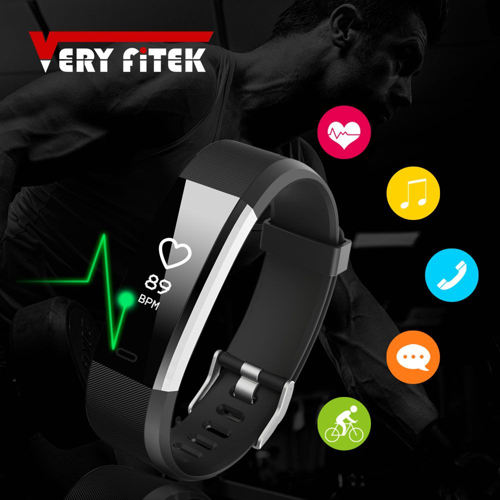 ID115HR PLUS <font><b>Smart</b></font> Bracelet Sports Wristband With Heart Rate Monitor Fitness Tracker Band Watch for Xiaomi Phone pk id115plus