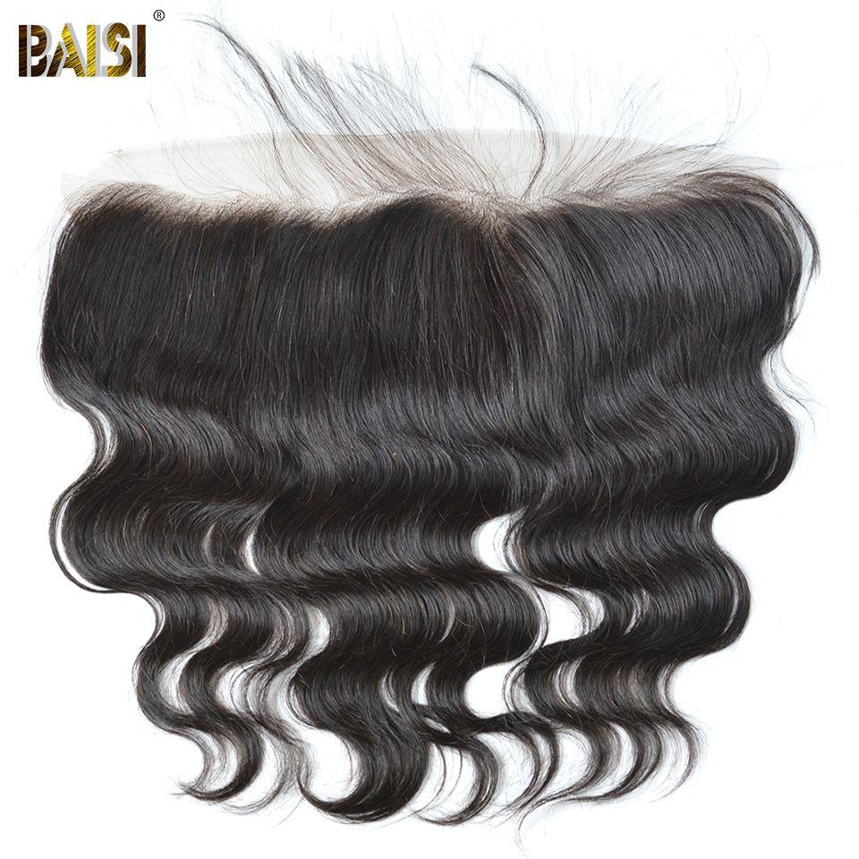 BAISI Corps Vague Péruvienne Vierge Cheveux Dentelle Frontale Taille 13*4, PrePlucked Délié normal Noeuds Blanchis Avec Bébé cheveux 8-18 pouce