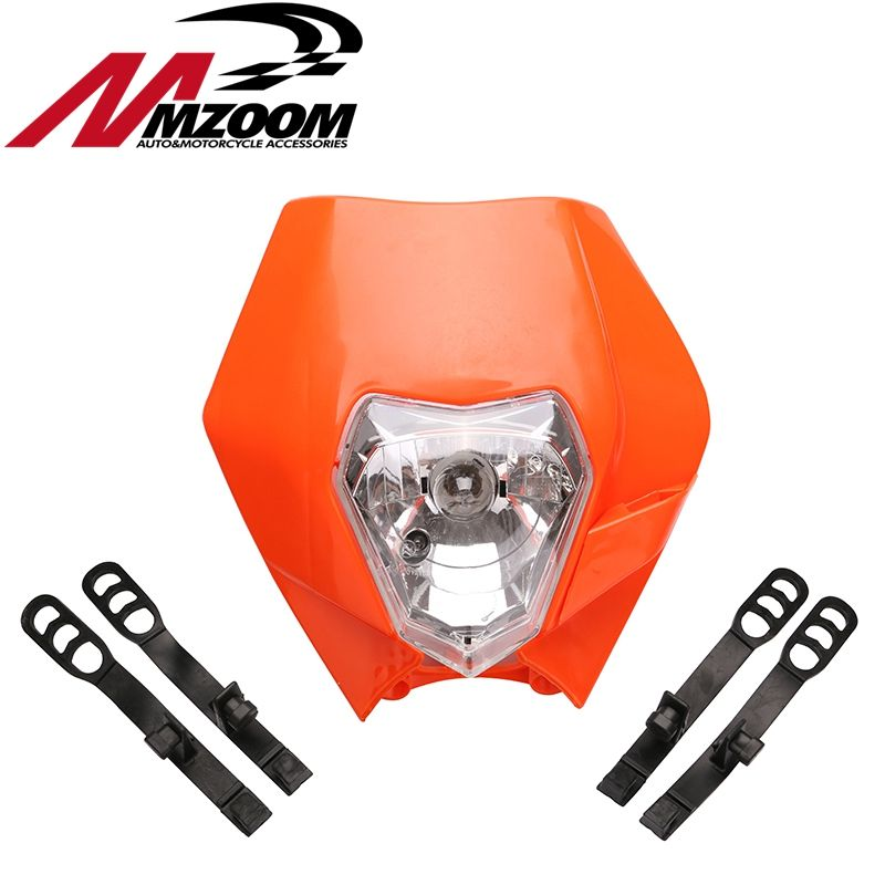 MZOOM Motorcycle Dirt Bike Motocross Supermoto Universal Headlight Fairing for KTM SX EXC Black Orange White Motorcycle Headlamp