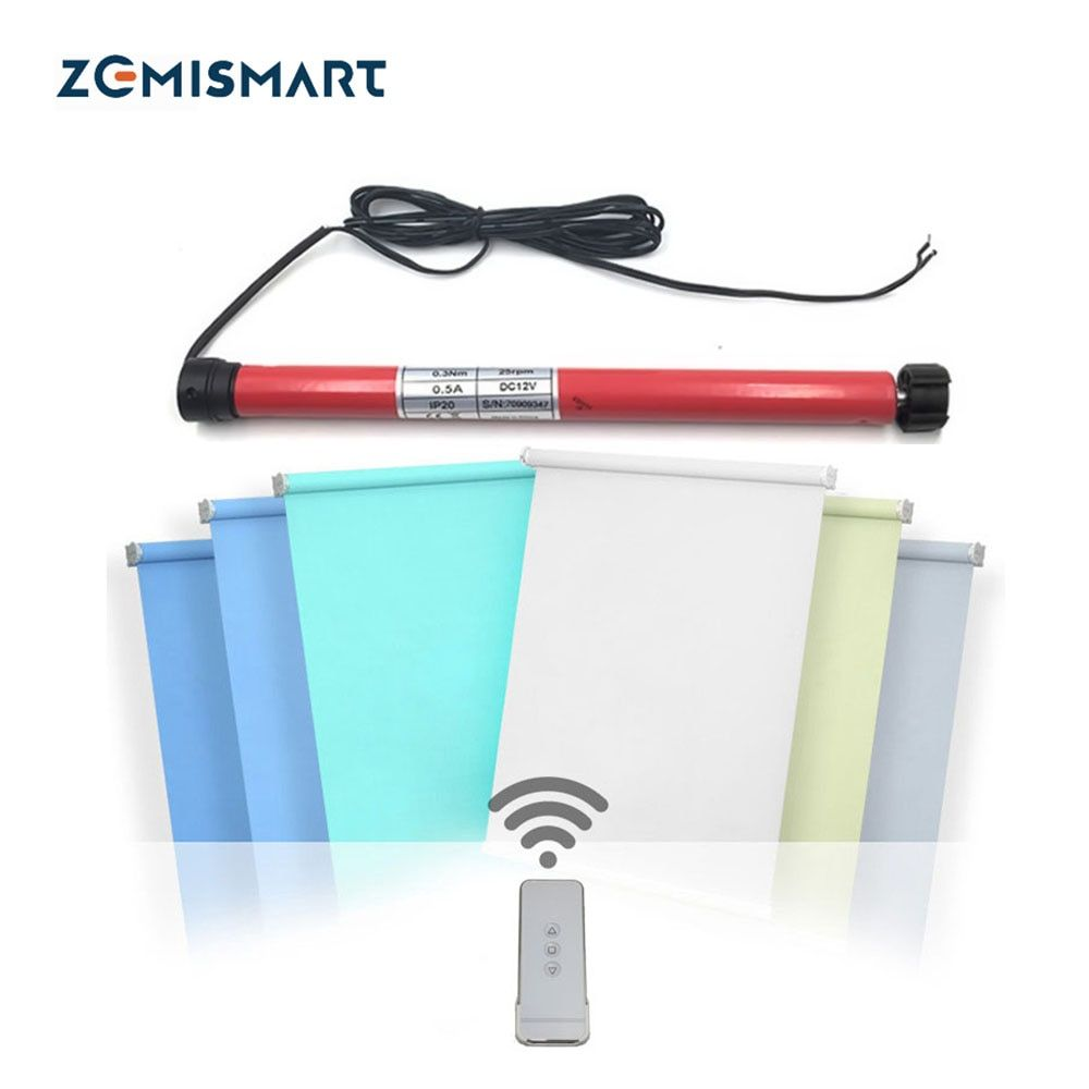 Zemismart for 28mm Tube Motorized <font><b>Windows</b></font> Blinds Motor Curtain Motor DC12V RF433 Tubular Roller Shutters Work with Broadllink