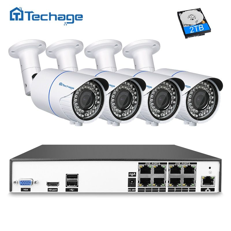 Techage H.265 8CH 4MP POE NVR CCTV System 2.8mm-12mm Varifocal Zoom Lens IP Camera P2P Onvif Security 4MP Surveillance System