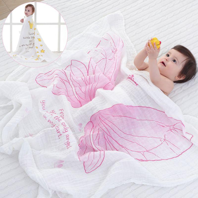 La primavera y el verano el aire acondicionado manta niñas Alas de Ángel bebé tiene mantas de muselina de algodón manta toalla de baño 115x120 cm