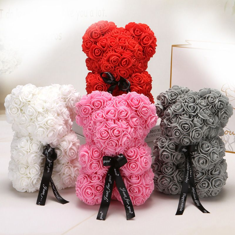 25cm Cartoon Bear Artificial Flowers PE Rose Flower Artificial Christmas Gifts for Women Valentine's Day Gift Bear Holiday gift