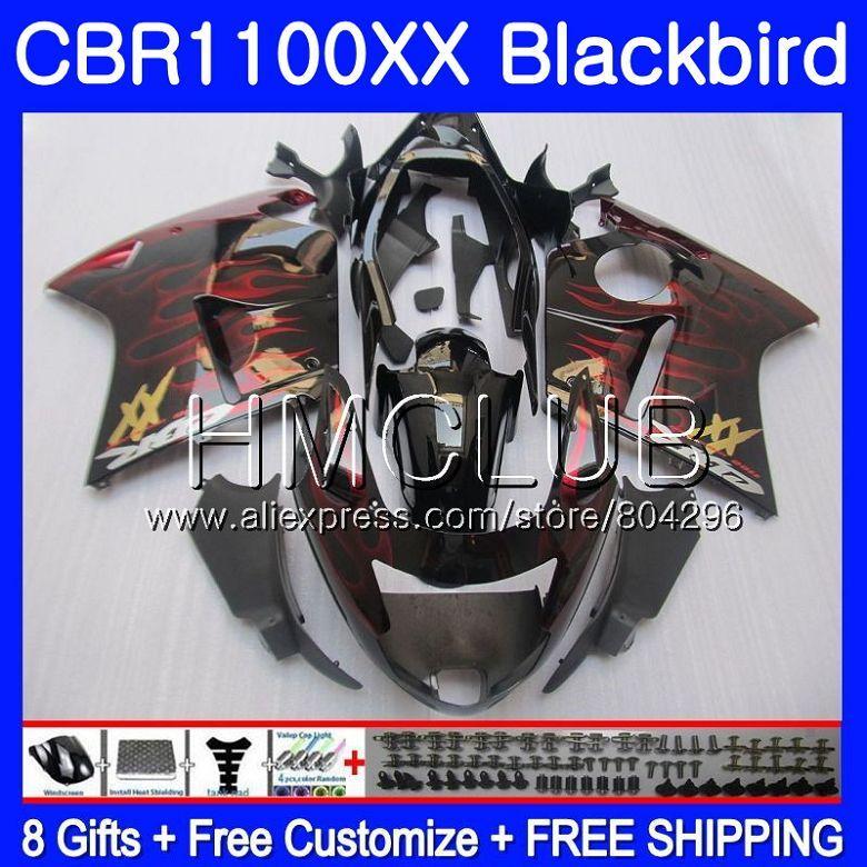 Verkleidung Für HONDA Blackbird CBR1100 XX CBR 1100XX Rot flammen 02 03 04 05 06 07 76HM. 14 CBR1100XX 2002 2003 2004 2005 2006 2007