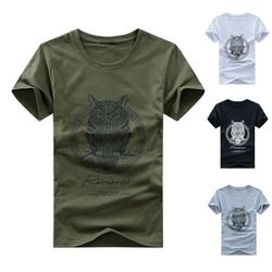 Модные Для мужчин из хлопка футболка с короткими рукавами с принтом «Сова» летняя Повседневное Ночная птица футболки с рисунками из мультф...