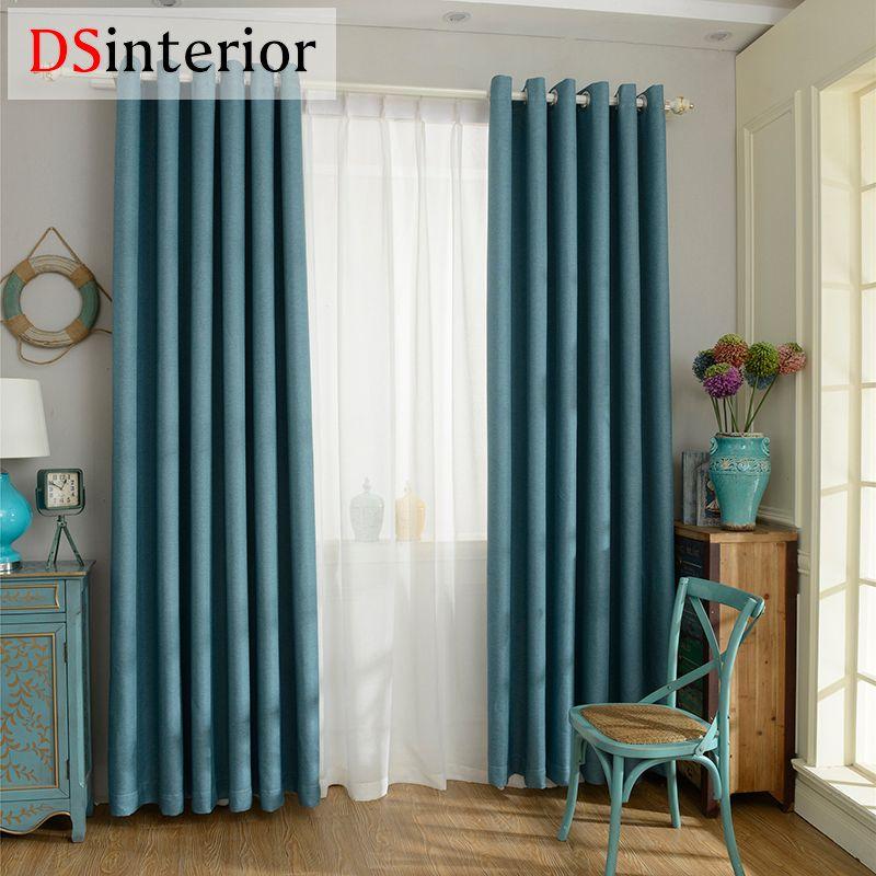 DSinterior 70%-85% ombrage moderne style solide couleur faux lin uni rideau D'occultation pour salon fenêtre custom made