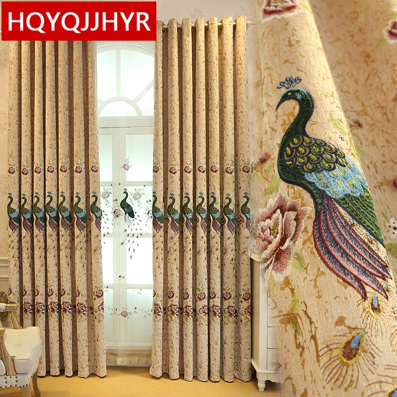 European's top embroidered Peacock FIG luxurious curtains for Living Room with a Peacock Voile for 5 <font><b>star</b></font> Hotel Bedroom