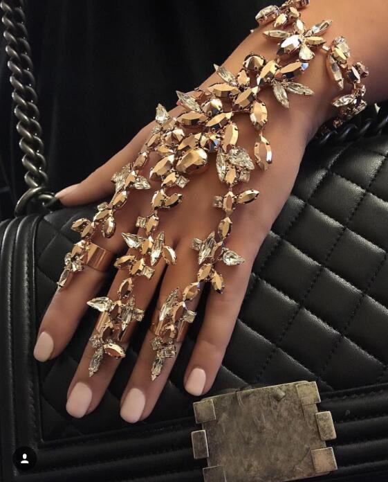 PPG et PGG Mode Femmes Doigt Bracelet Pulseras 2018 Bohème Charme Cristal Main Chaîne Bracelet Bracelet D'été Plage Bijoux