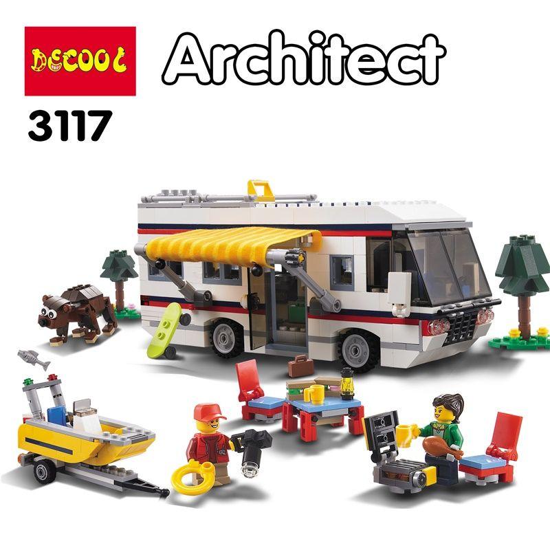 DECOOL 3117 Creator 3in1 Vacation Getaways City Building Blocks Kits Bricks Sets Classic Model Toys Kids Marvel Compatible Legoe