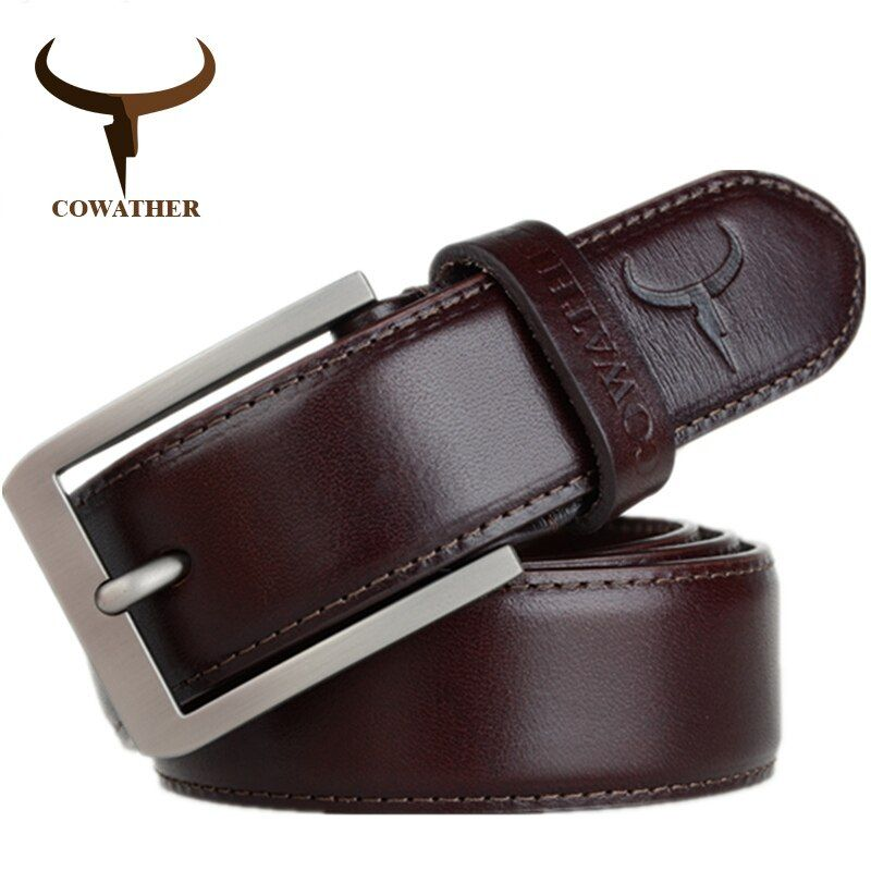 COWATHER 2017 top cow genuine leather men belts for men fashion jeans style pin buckle male strap <font><b>luxury</b></font> quality original brand