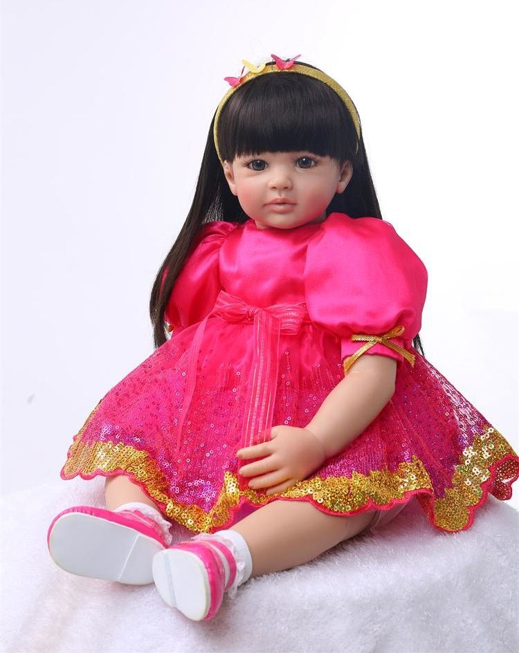 Silikon Reborn Baby Puppe Spielzeug 55 cm Prinzessin Kleinkind Puppen Mit Lange Haare Mädchen Brinquedos Hohe Qualität Begrenzte Sammlung Puppen