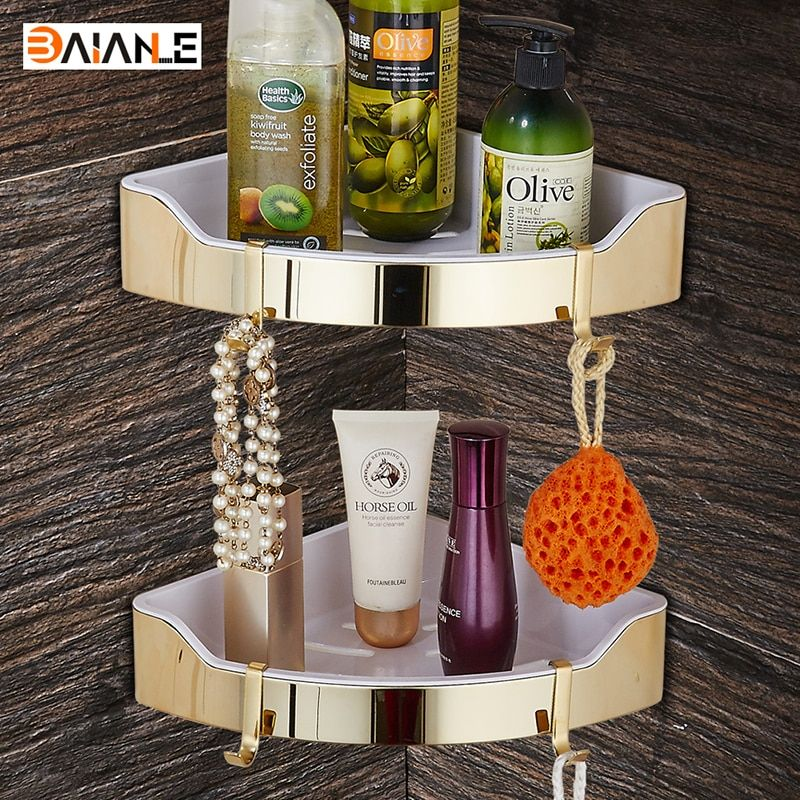 Gold Stainless Steel + ABS Plastic Bathroom Shelves Brushed Nickel Wall Mount triangle Shower Caddy Rack Bath Accessories