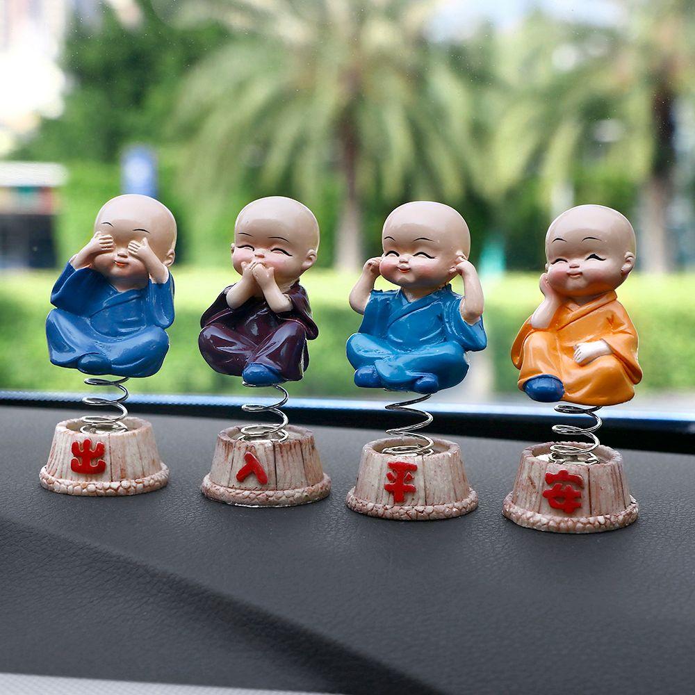 4Pcs/set Resin Bobbleheads Doll Figure Tomy Monks Maitreya Buddha Figure Gift Car Ornaments Desk Auto Pendant Charms Car Styling