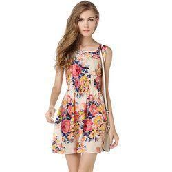 Cheap Casual Dress 2017 Women Summer Chiffon A-Line Mini Dresses Ladies Sleeveless Floral O-Neck Elegant Vestidos Female Clothes