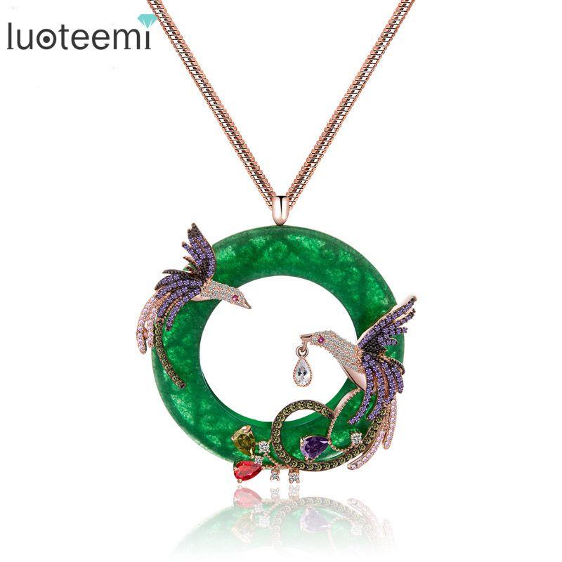 LUOTEEMI mode exquise couleur or Rose coloré CZ Micro pavé Double Phoenix oiseaux pendentif Animal Long chandail colliers