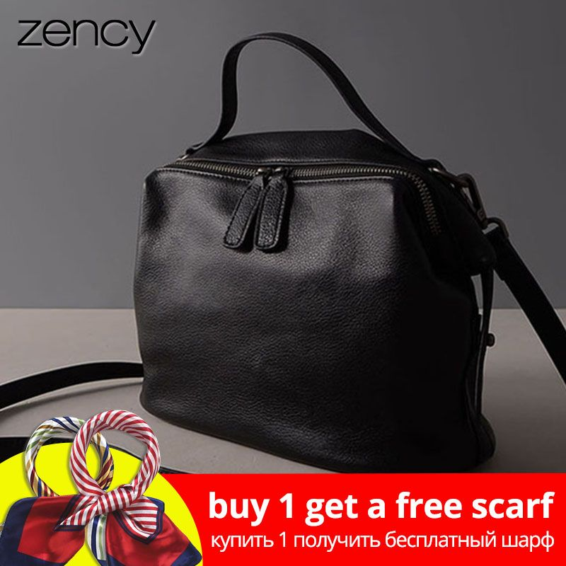 Zency Retro Black Women Handbag 100% Genuine Leather Lady Casual Tote Fashion Female Crossbody Messenger Purse Grey Shoulder Bag