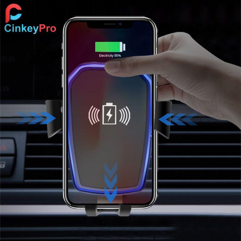 CinkeyPro Sans Fil Chargeur De Voiture pour iPhone X 8 XS Samsung XiaoMi USB Rapide De Charge Titulaire Air Vent Stand QI Dispositif universel