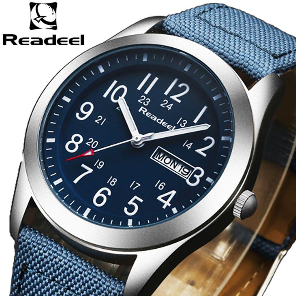 Readeel de luxe marque militaire montres hommes Quartz analogique toile horloge homme sport montres armée militaire montre Relogios Masculino