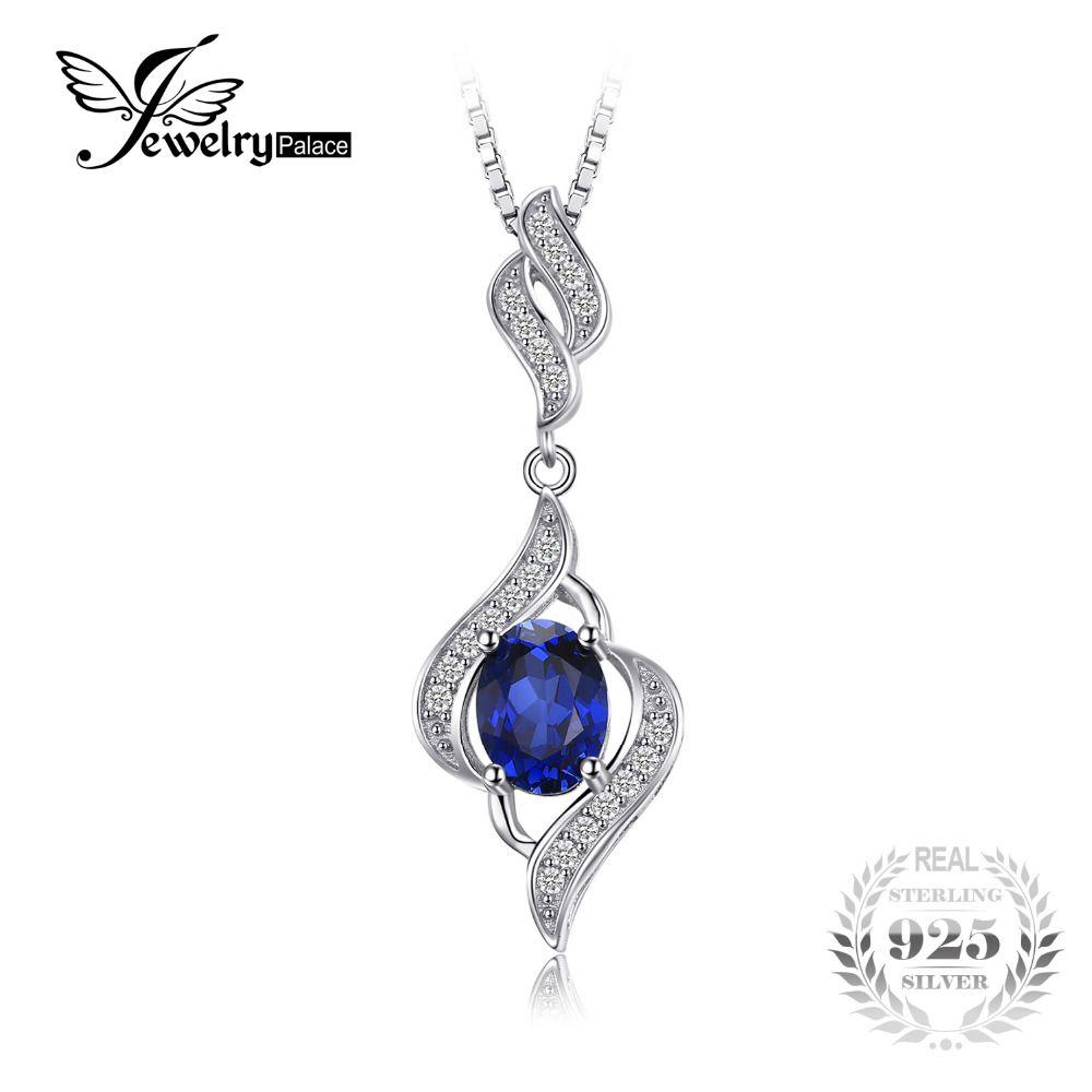 JewelryPalace 1.95ct Creado Azul Zafiro Colgante de Collar de Plata de Ley 925 No Incluye una Cadena Del Encanto para Las Mujeres
