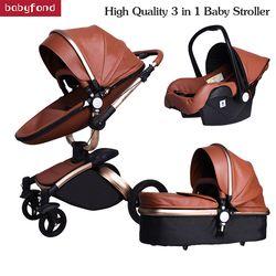 Babyfond 3 In 1 Mewah Uni Eropa Kereta Dorong Bayi Kulit Dua Arah Shock Penyerapan Kereta Merek Bayi 2 In 1 dorong Emas Coklat Hadiah Gratis