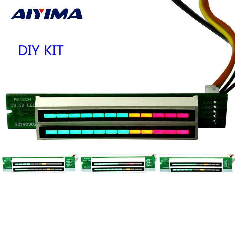 AIYIMA Mini double 12 indicateur de niveau VU compteur amplificateur stéréo panneau de vitesse de lumière réglable avec KITS de Mode bricolage AGC