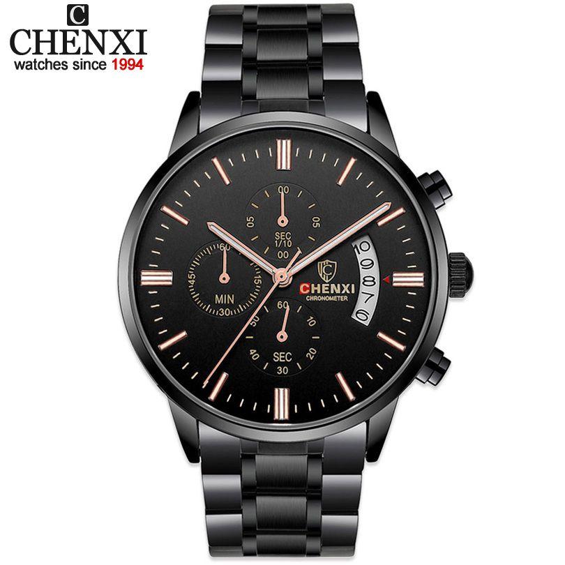 CHENXI Marca Hombres Deportes de Cuarzo Multifunción relojes de Pulsera de Moda de Lujo Hombre Negro A Prueba de agua reloj de Cuarzo de Acero Completo
