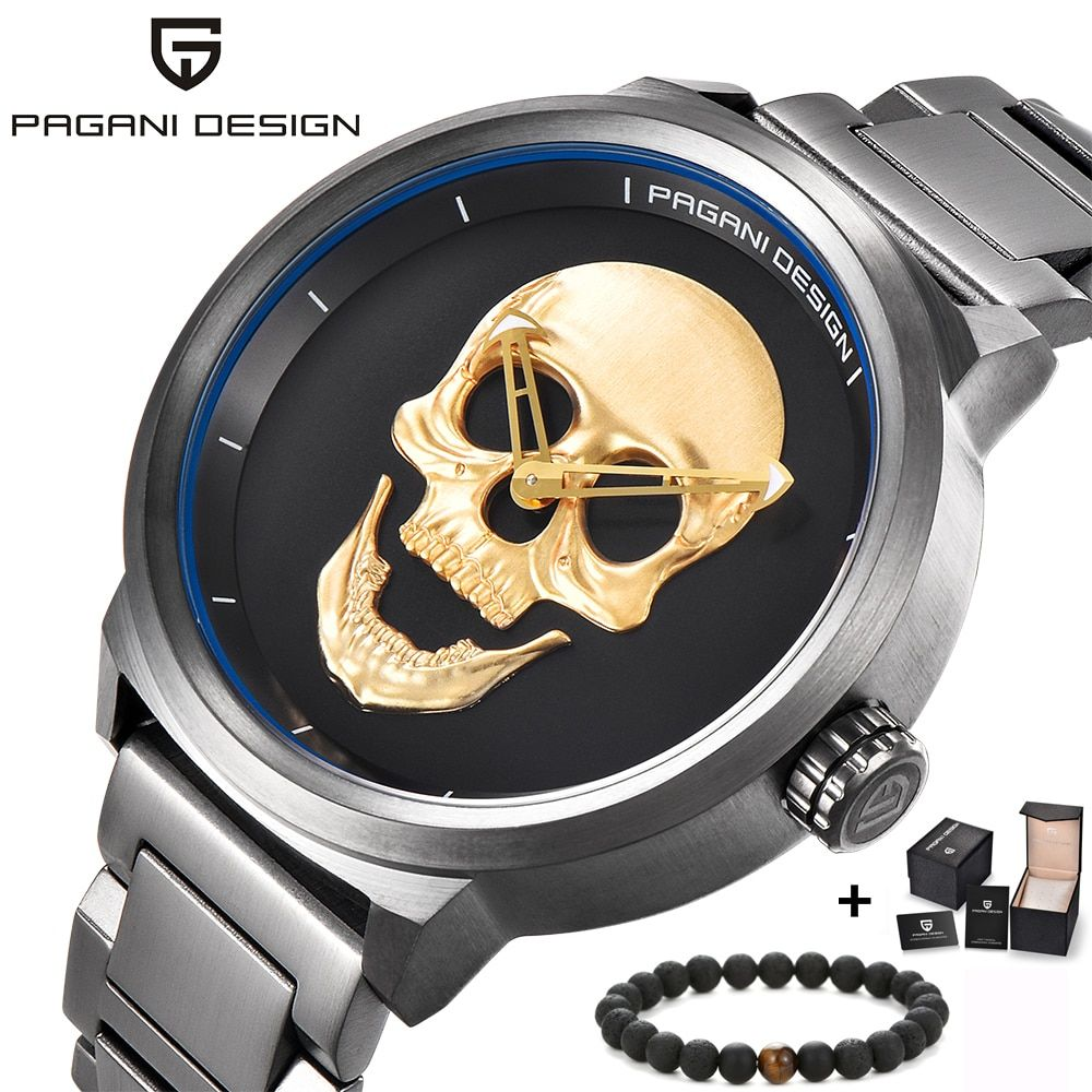 PAGANI design Luxury Brand Full Stainless Skull Bone Biker Punk stylish sports quartz watch Male Retro Wristwatch Clock men