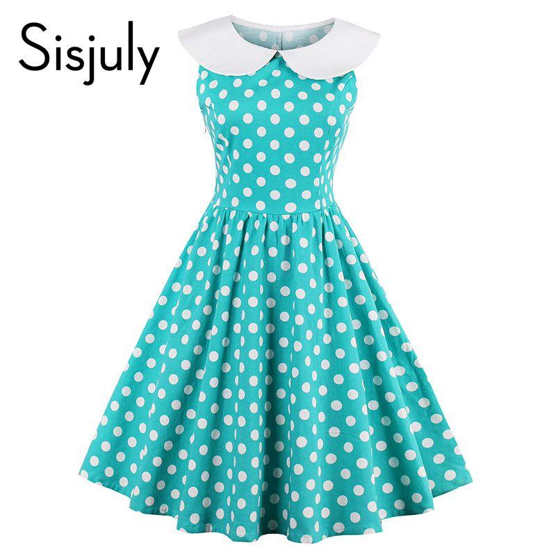 Sisjuly women vintage dress pin up polka dots cute knee-length sleeveless a-line <font><b>party</b></font> dress summer vintage 2017 new dresses
