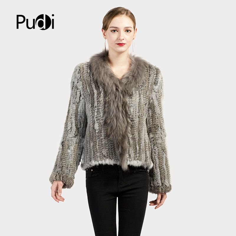 Pudi CT7008 Genuine Knitted Women Rabbit Raccoon Fur Coat Jacket Trench Outwear Parka Russia winter warm coats