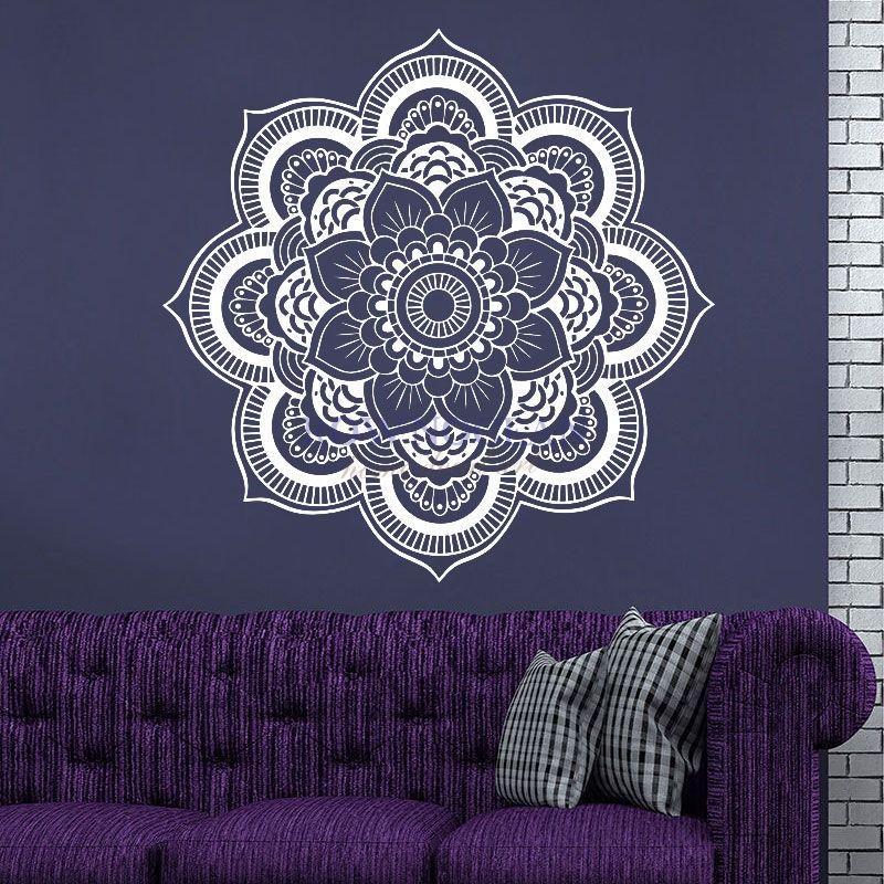 57x57 CM Mandala Yoga Sticker Mural vinyle amovible étanche symbole Mehndi OM Muraux Mural décor maison produits ménagers MA-09