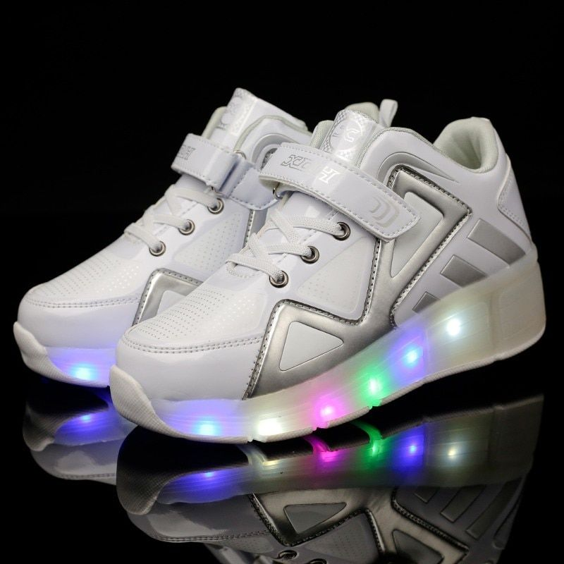 New Shoes with Light Single Wheel Walking Shoes LED Roller Skates 7 Colors Boys and Girls Students Walking Sneakers 1023B
