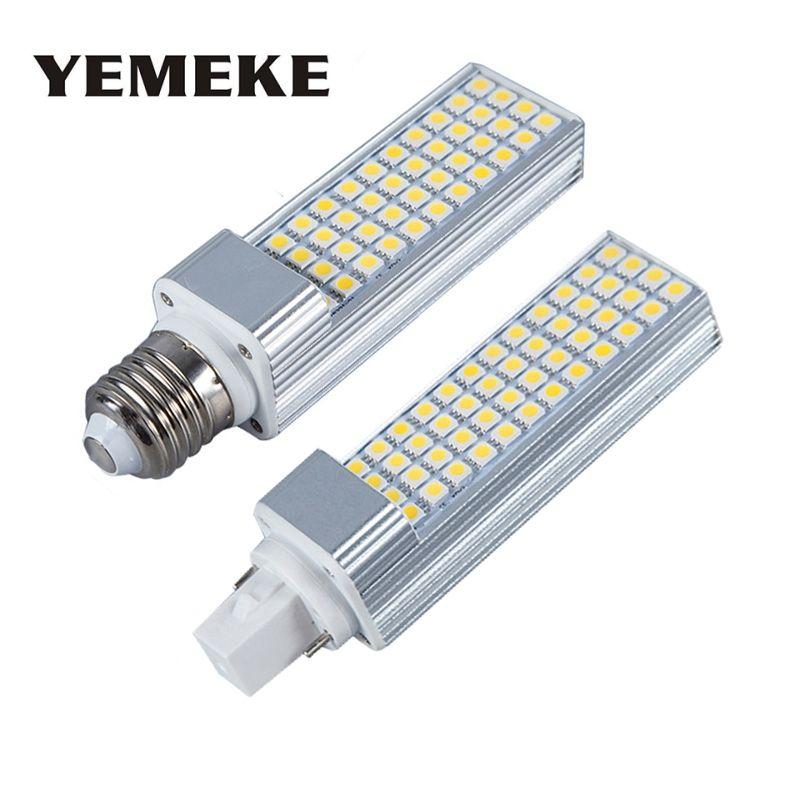 SMD 5050LED Ampoules 5 W 7 W 9 W 11 W 13 W E27 G24 LED maïs Ampoule Lampe Spotlight 180 Degrés AC85-265V Horizontal Plug Lumière