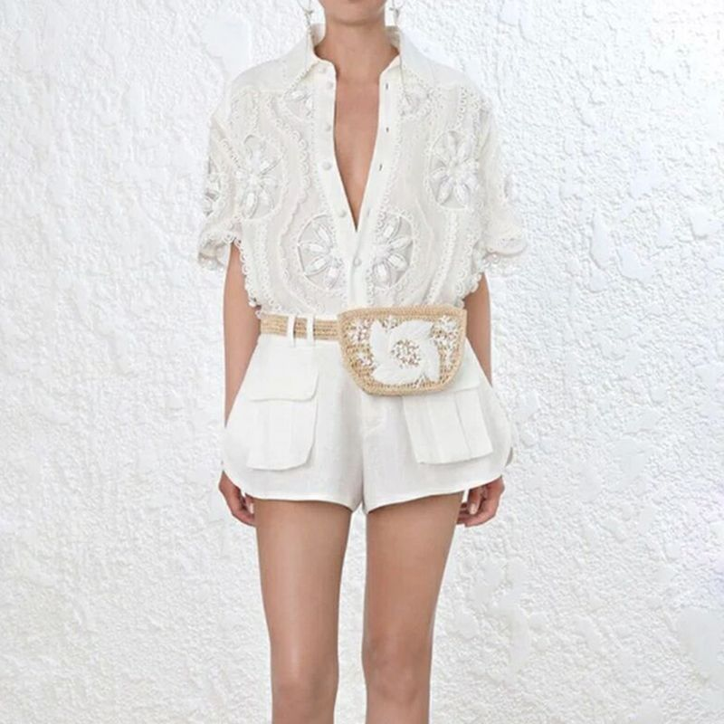 HIGH STREET Newest Fashion Runway 2018 Suit Set Women's Short Sleeve Hollow Out Blouse Shirt Shorts Set