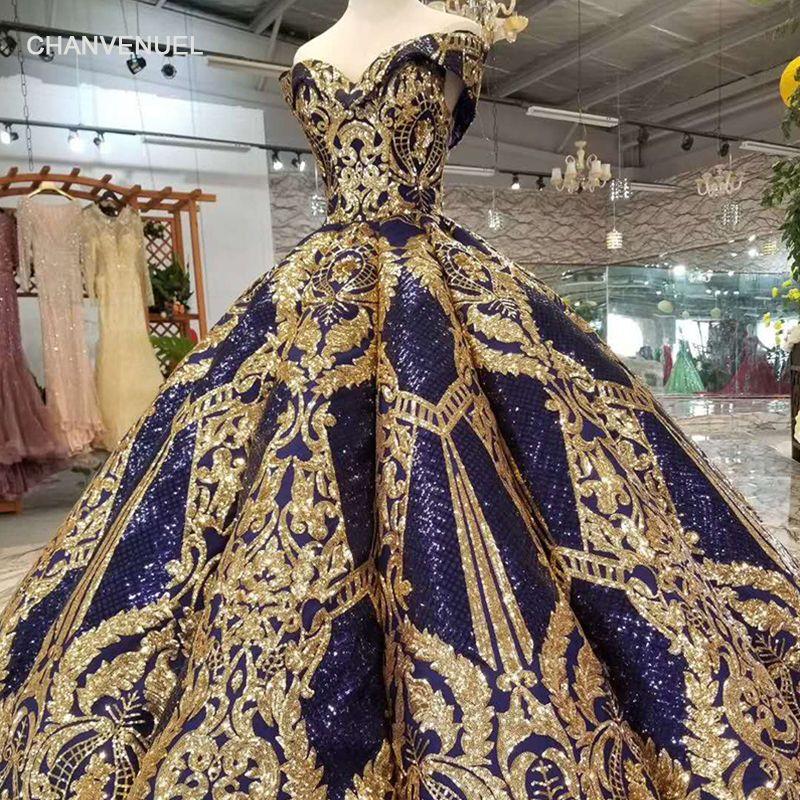 LSS159 luxus bodenlangen königin prom kleider navy kurve form ballkleid goldene spitze abend party kleider glitter kostenloser versand