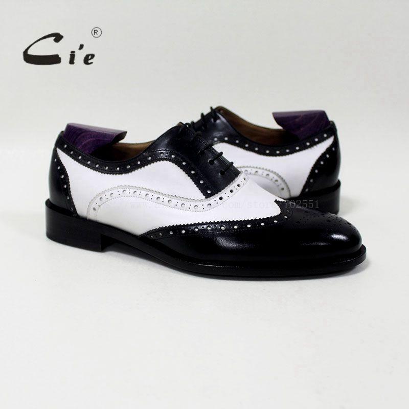 CIE с круглым носком смешанные цвета белый и черный пользовательские ручной работы из натуральной телячьей кожи мужская Туфли в британском с...