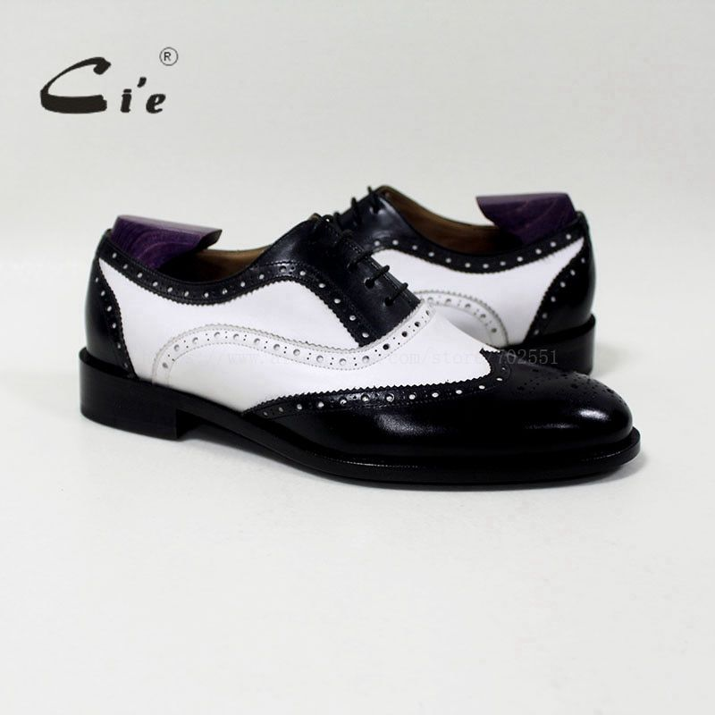 Cie runde zehe mixed farben weiß und schwarz individuelle handarbeit echtes kalbsleder herrenschuhmodell blake/mackay handwerk OX-04-00