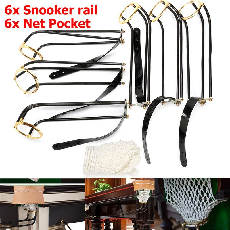 Newest 6pcs Standard Pool Snooker Billiard Table Replacement Solid Iron Empire Rail Cotton Net Pockets Set