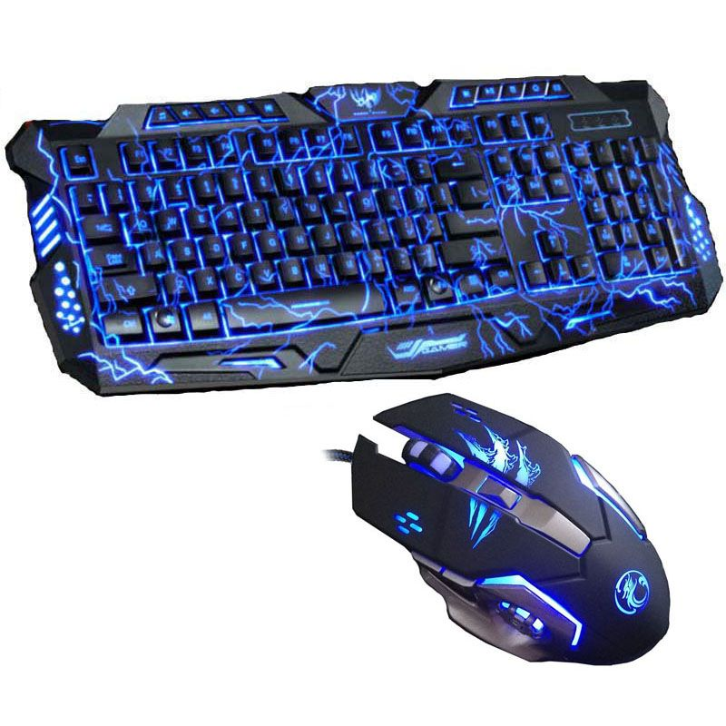 New Tri-color Backlight Pro Gamer Keyboard Gaming Keyboard 6 Buttons 3200 DPI Mechanical LED Backlight Pro Gaming Mouse