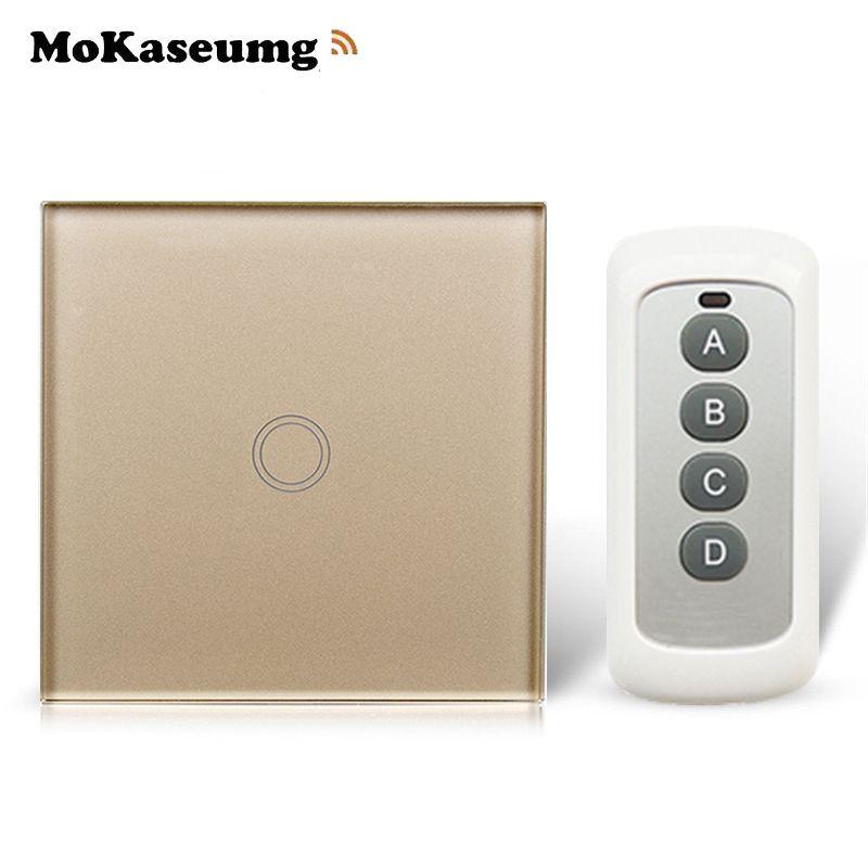 Commutateur de télécommande Standard de l'ue, commutateur intelligent de RF 433 Mhz bricolage de mur à la maison, commutateur tactile de contrôle sans fil 1 Gang 1 voie 220 V