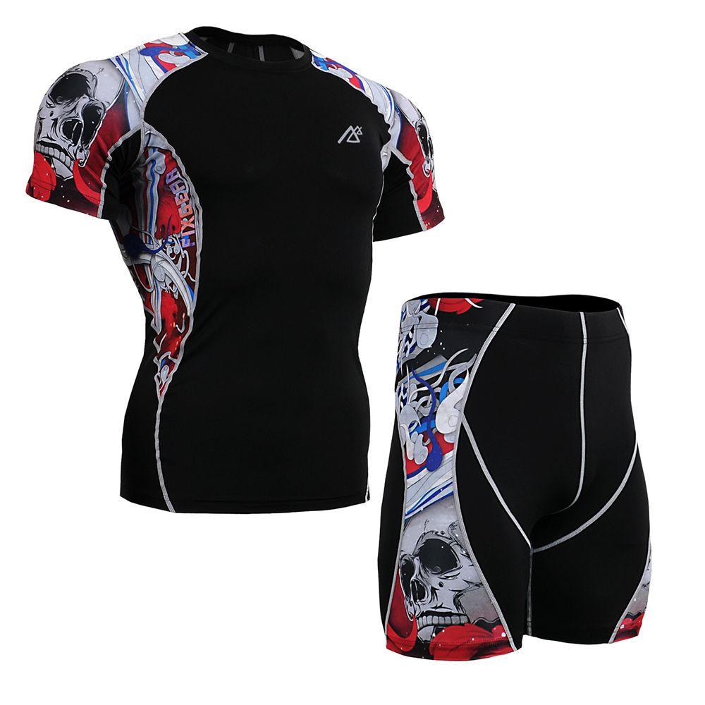 Women's Fitness Clothing Set Unisex Compression Shirt & Shorts Gym Crossfit Clothes Sports Training Workout Garment Short Sleeve