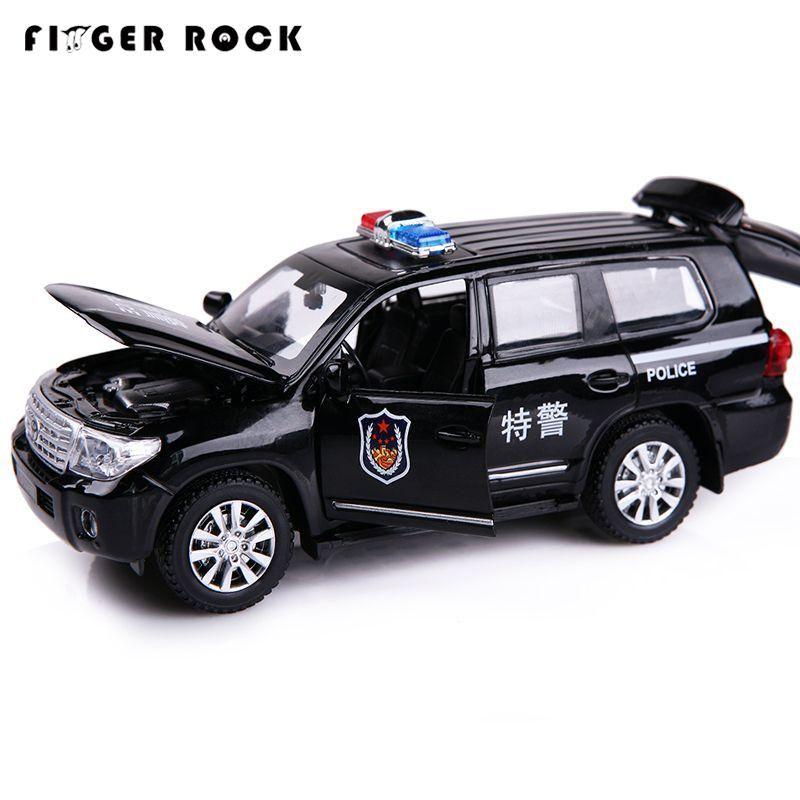 1:32 Land Cruiser Police Voiture Modèle Moulé Sous Pression En Métal Rétractable Automatique Jouet 2 Couleur Simulation Alliage Voiture Cadeau D'anniversaire pour enfants