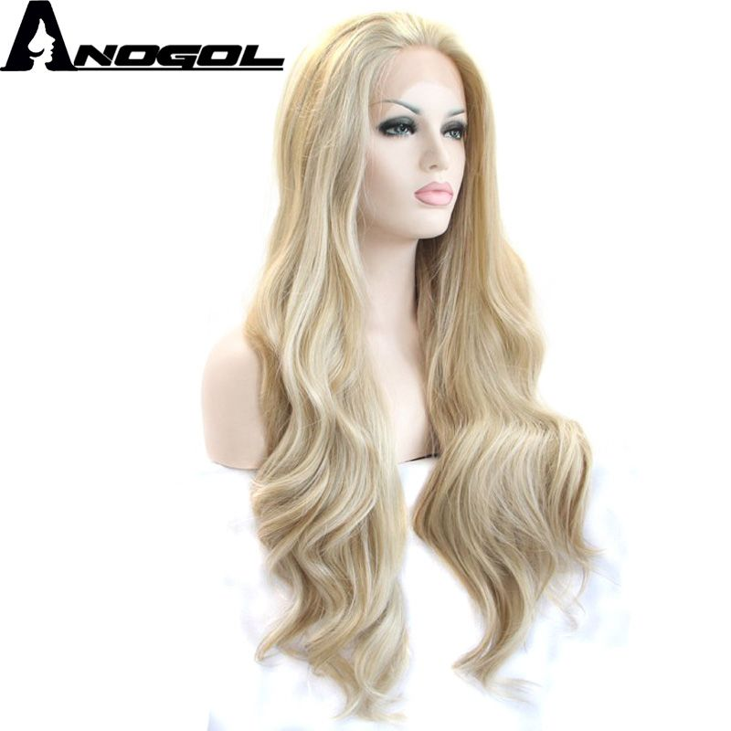 Anogol High Temperature Fiber Natural Long Body Wave Free Part Platinum Blonde Synthetic Lace Front Wig For White Women