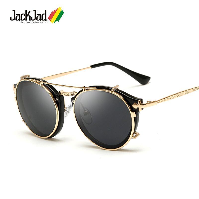 JackJad 2018 mode Style SteamPunk à clapet amovible lunettes De soleil Vintage rétro marque Design lunettes De soleil Oculos De Sol Gafas