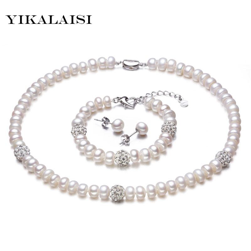 YIKALAISI 2017 New White Color Pearl necklace Sets 8-9mm White Natural Pearl Jewelry 925 sterling silver jewelry For Women