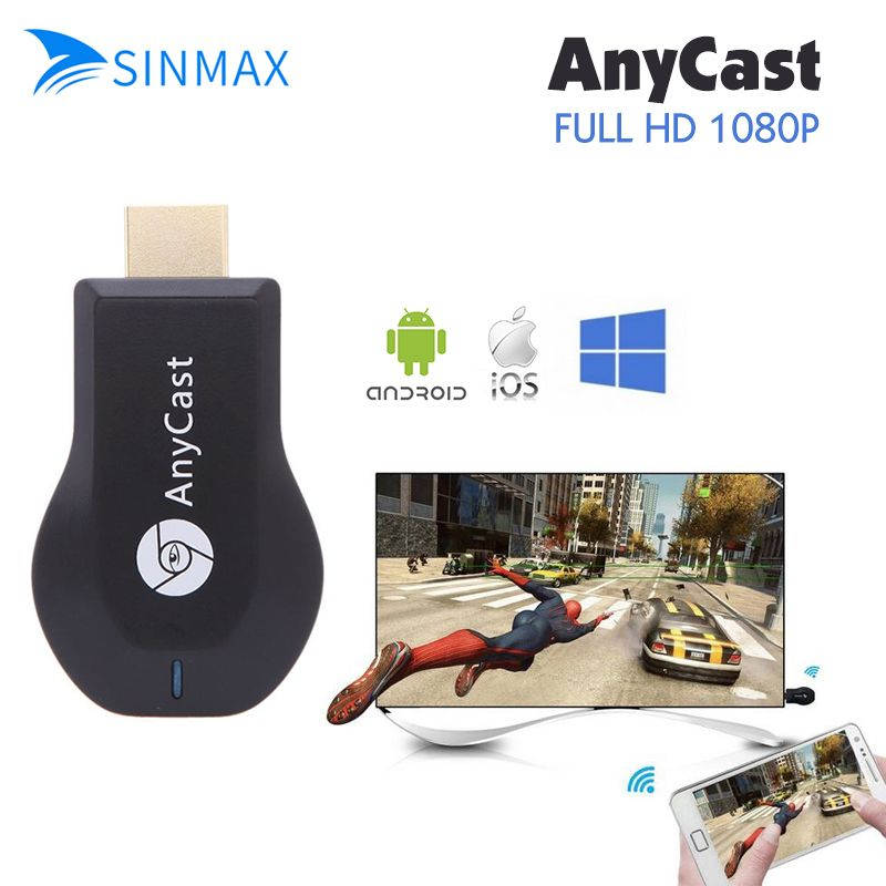 Sinmax AnyCast 1080P Wireless Wifi Display TV Dongle AirPlay Miracast Adapter Dongle Mini TV Stick for Apple IOS Android window