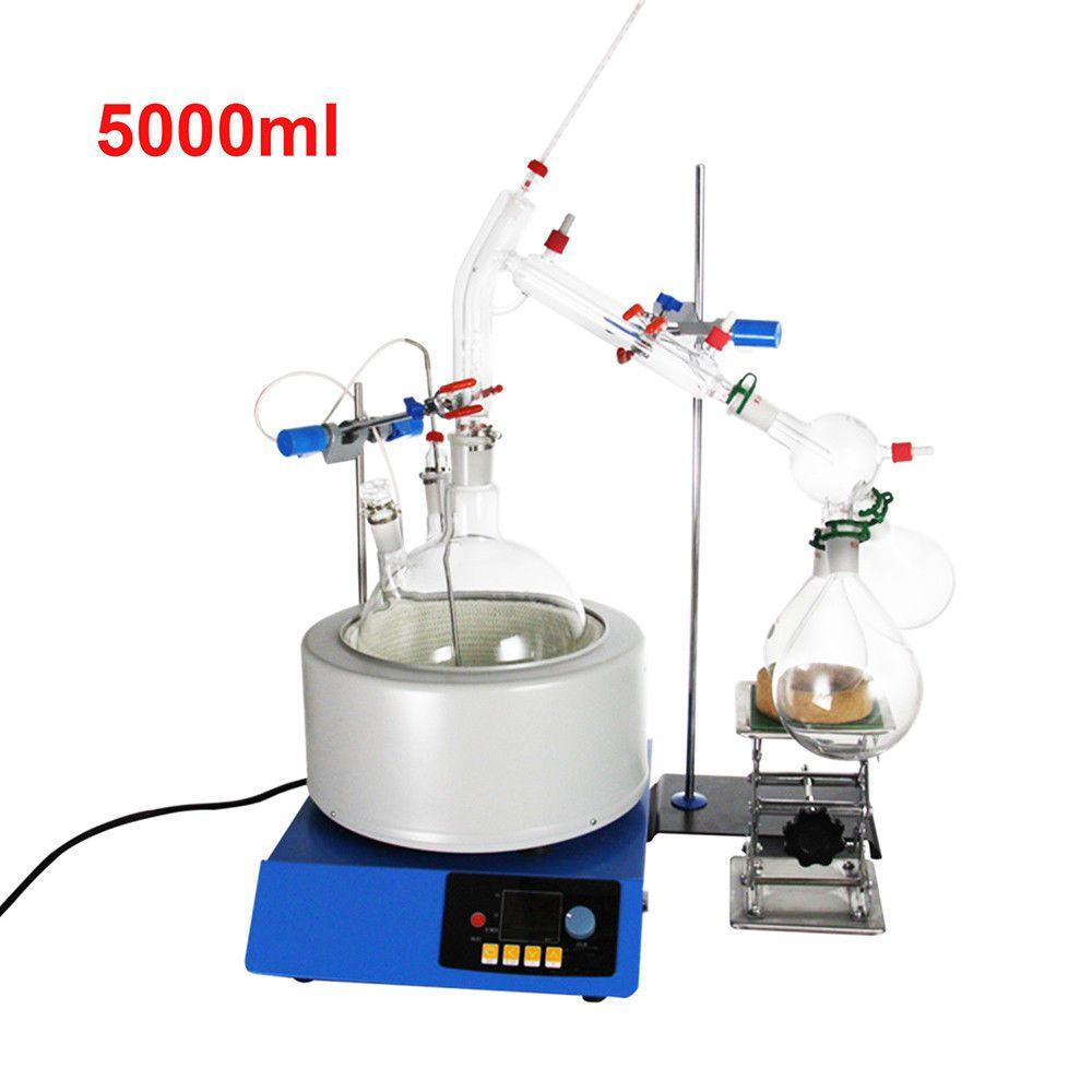 Neue 5000 ml Labor Ätherisches Öl Dampf Destillation Glaswaren Kits Wasser Brennerei Reiniger w/Magnetische Rühren Heizung Mantel